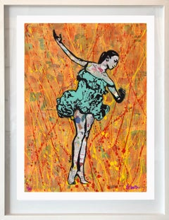 Fire Dancer - Abstract Mixed Media Pop Art Collage with Complimentary Colors