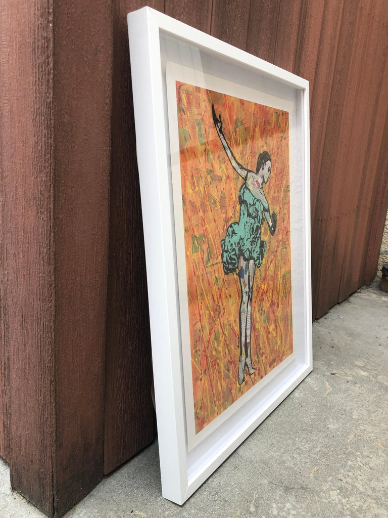 Fire Dancer - Framed Contemporary Pop Art Print of Ballet  + Orange and Teal - Blue Figurative Painting by Amy Smith