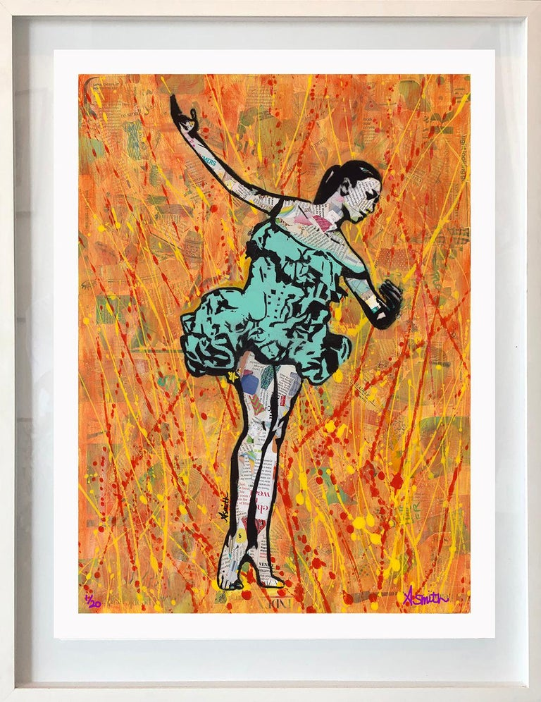Amy Smith Figurative Painting - Fire Dancer - Framed Contemporary Pop Art Print of Ballet  + Orange and Teal