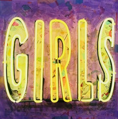 """""""Girls""""-Mixed Media Collage, Stencil and Acrylic, with Neon on Wood"""