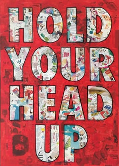 Hold Your Head Up- Mixed Media Collage  Red + Yellow + Black