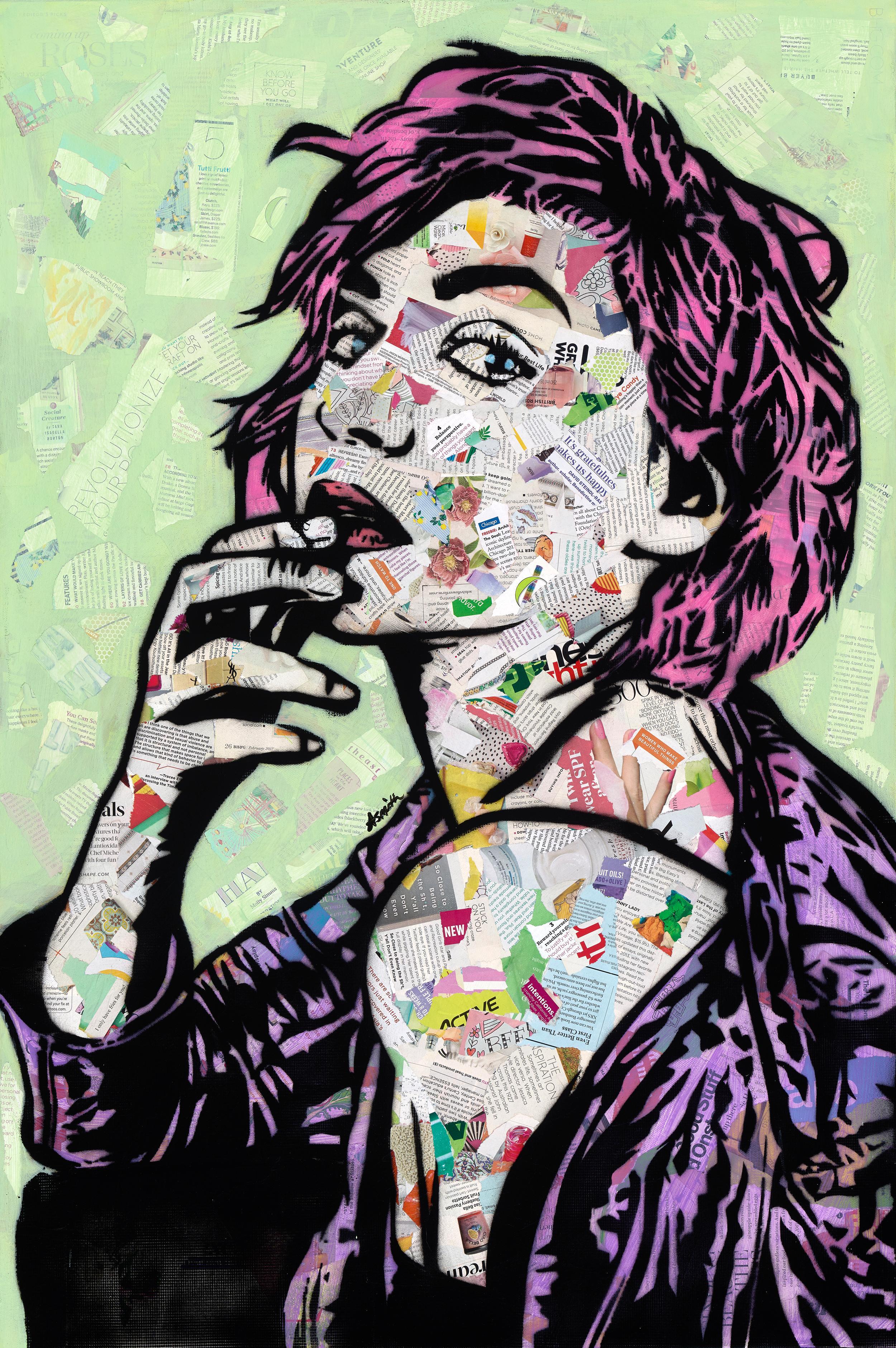 """I Woke Up Like This"" - Mixed Media Collage and Acrylic on Canvas"