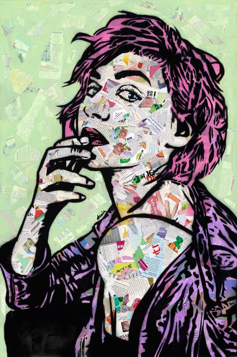 I Woke Up Like This- Street Art Portrait of Woman Pink + Green + Purple