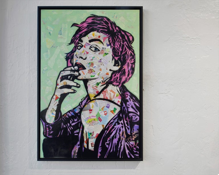 In her Collage Portrait Series, Amy Smith uses photography, and layers of hand cut stencils, and torn recycled fashion magazine pieces to simultaneously represent her love of fashion and her contempt for excessive consumerism. In addition, she