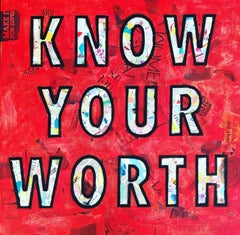 Know Your Worth - Mixed Media Collage Red + Black + White