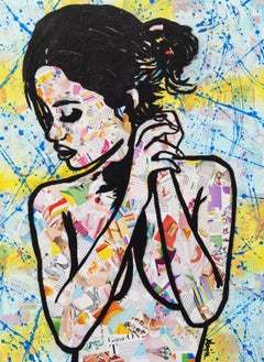 """Loving 2""-Magazine Collage, Acrylic & Spray Paint on Canvas"