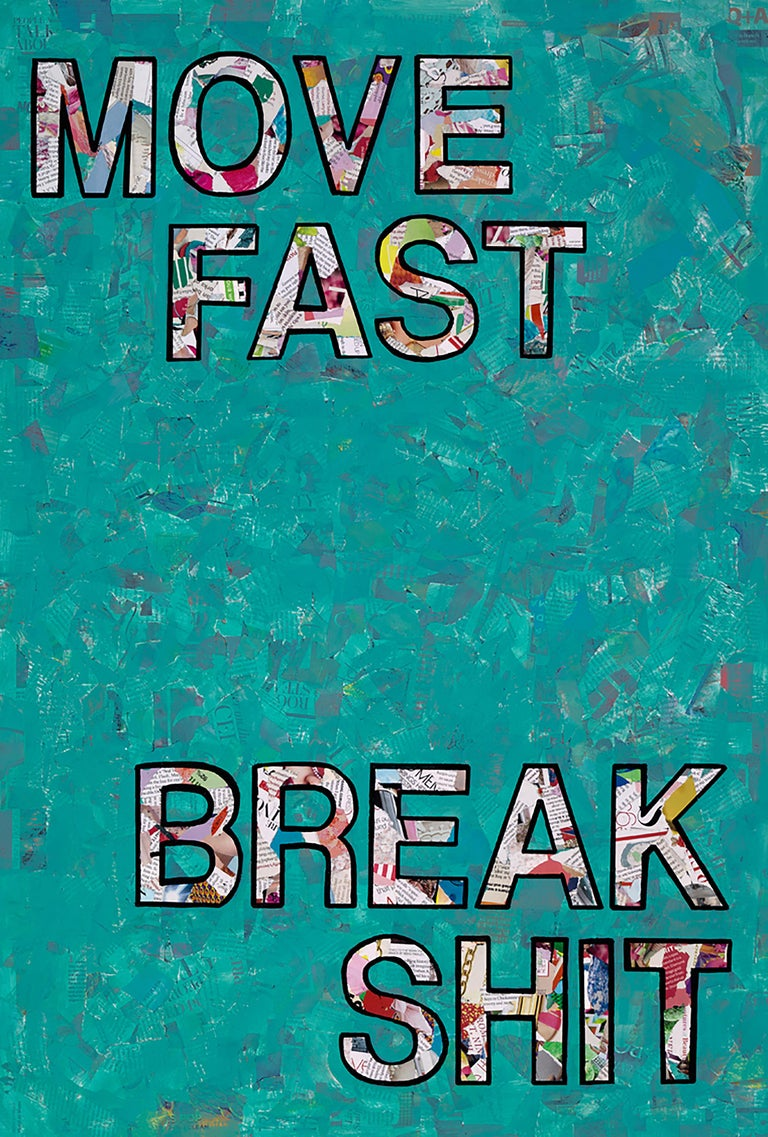 Move Fast- Contemporary Pop Art Collaged Text Painting - Mixed Media Art by Amy Smith