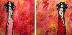 """Movement in Dreams Dyptich ""- Magazine Collage, stencil, acrylic on canvas"