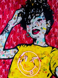 """""""Nevermind-Neon""""- Magazine Collage, Acrylic & Spray Paint with Neon on Wood"""