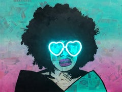 Nothing Stopping Me - Neon Lit Painting of Black Queen Street Art