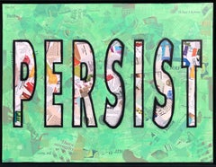 Persist - Mixed Media Collage Green + Black + White