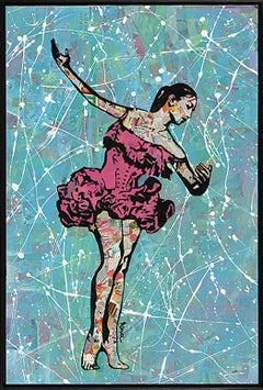"""Solo Ballerina""-Magazine Collage, Acrylic & Spray Paint on Canvas"