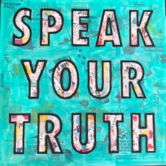 """Speak Your Truth""-Magazine Collage, Stencil, Acrylic & Spray Paint on Canvas"