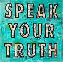 Speak Your Truth - Mixed Media Collage Teal + Black + White