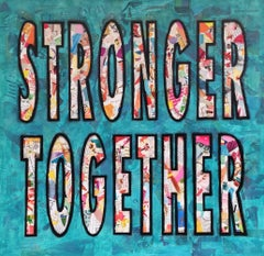 Stronger Together - Empowering, Framed Mixed Media Pop Art Painting