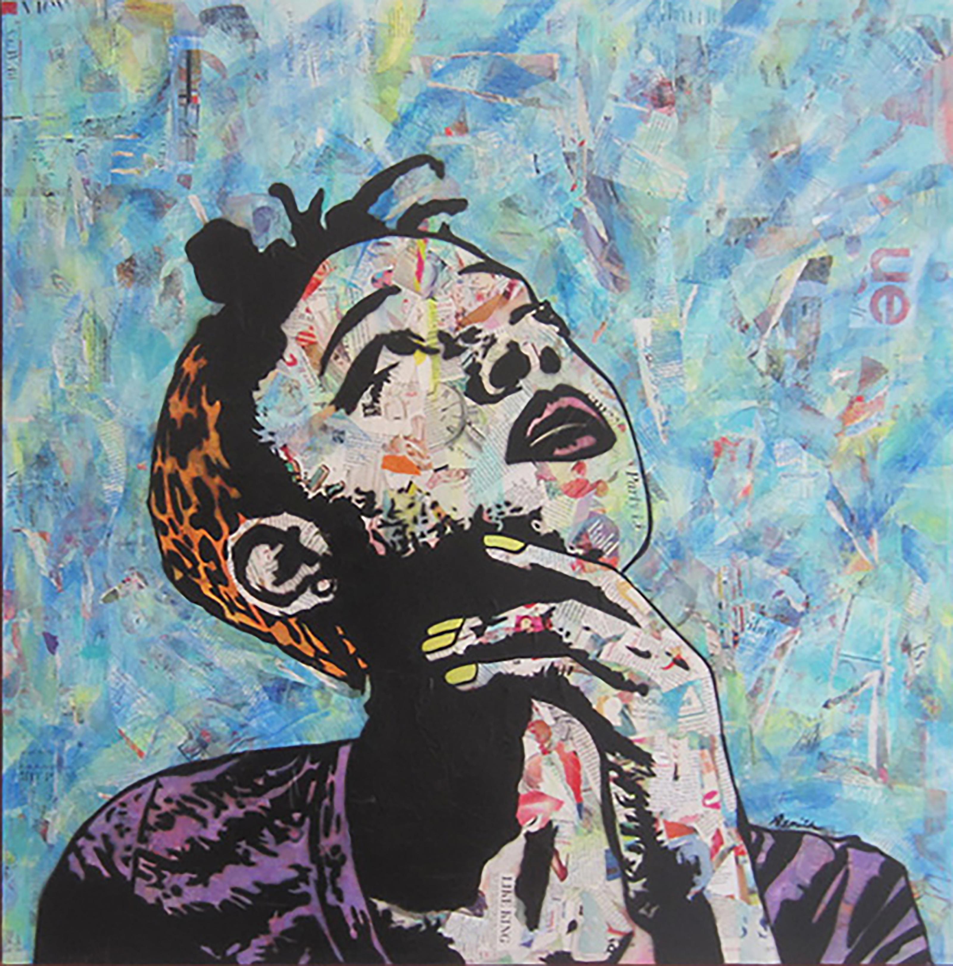 """The Thinker""-Magazine Collage, Acrylic & Spray Paint on Canvas"