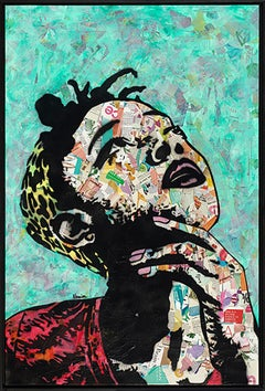 """Thinker II""-Magazine Collage, Acrylic & Spray Paint on Canvas"