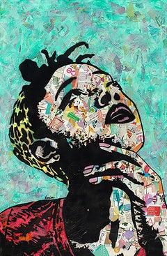 """Thinker II""-Magazine Collage, Acrylic & Spray Paint on Canvas"