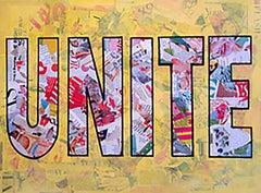 """Unite""-Magazine Collage, Acrylic & Spray Paint on Canvas"