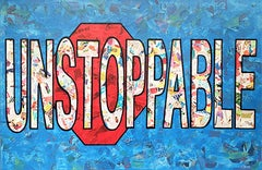 """""""Unstoppable""""-Magazine Collage, Acrylic & Spray Paint on Canvas"""