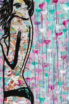 """Vulnerable""-Magazine Collage, Acrylic & Spray Paint on Canvas"