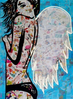 Winged - Mixed Media Collage Portrait of female with wings White + Blue + Black