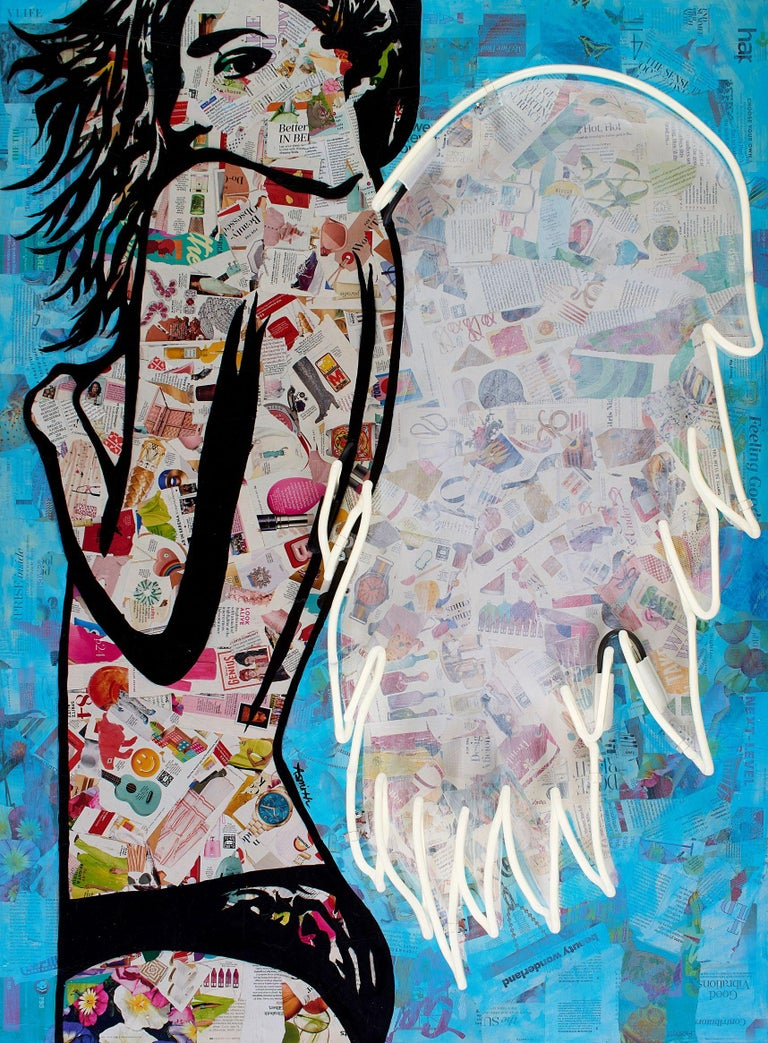 Winged - Mixed Media Collage Portrait of female with wings White + Blue + Black - Mixed Media Art by Amy Smith