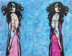 """Ying Yang""- Commission 36"" x72"" Magazine, Acrylic & Spray Paint on Canvas"