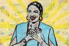 AOC - Contemporary Political Portrait of Alexandria Ocasio-Cortez in Yellow