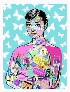 Audrey Hepburn - Contemporary POP Street Art Portrait (Teal + Pink + White)