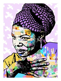 Maya Angelou - Contemporary POP Art Print (Purple + Black + Colorful)