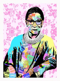 RGB- Contemporary Collage Portrait of Ruth Bader Ginsberg Supreme Court Judge