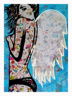 Winged - Framed Contemporary Collage Portrait of female with wings White + Blue
