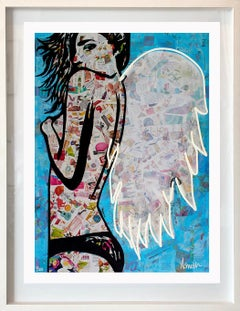 Winged - Framed Contemporary Limited Edition Print White + Blue + Pink