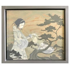 Amy Sol Korean American Signed Original Framed Acrylic Painting on Wood