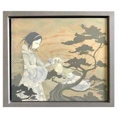 Amy Sol Korean American Signed Original Framed Painting on Wood Charm Lantern