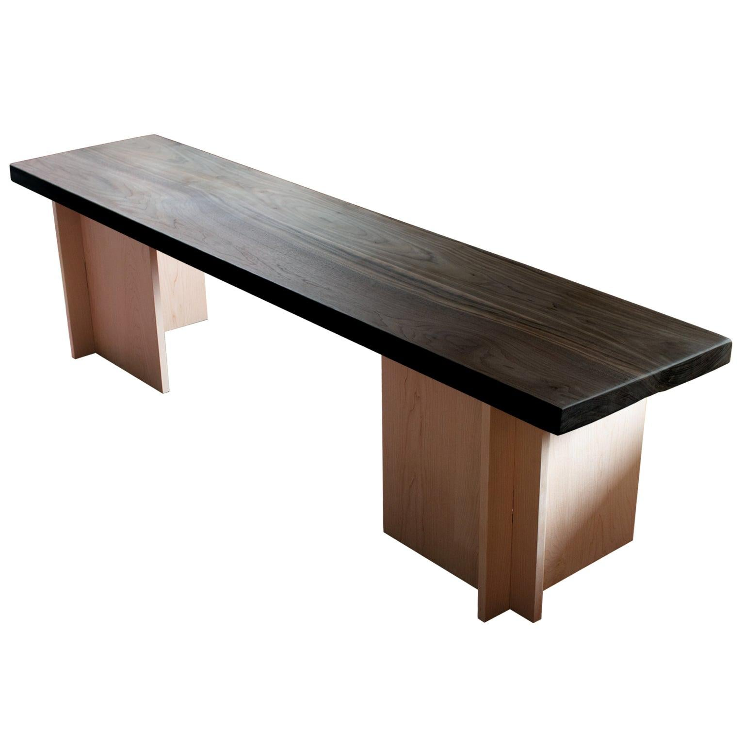Amy Solid Walnut and Maple Bench