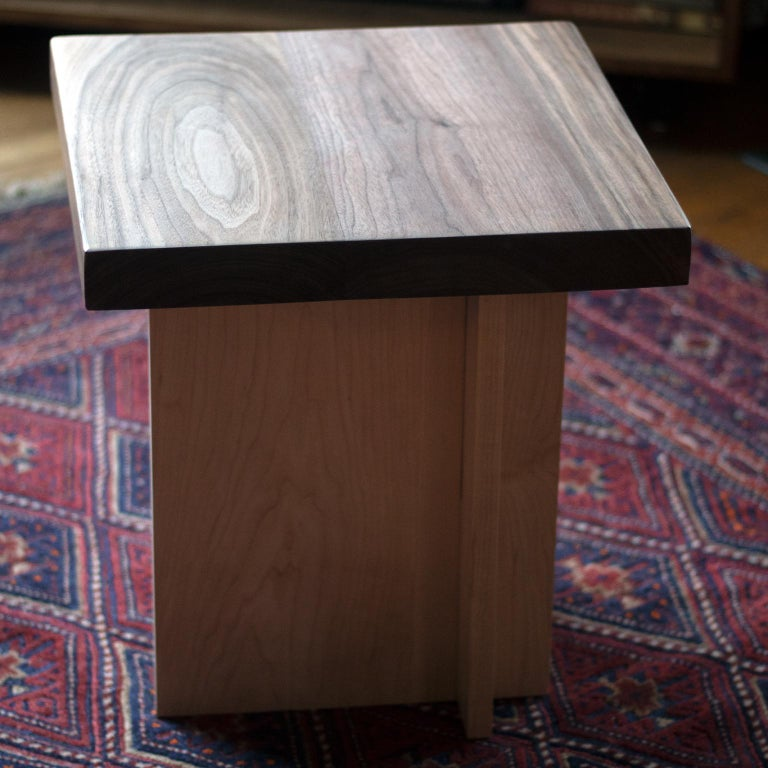 Canadian Amy Walnut and Maple Side Table / Stool For Sale