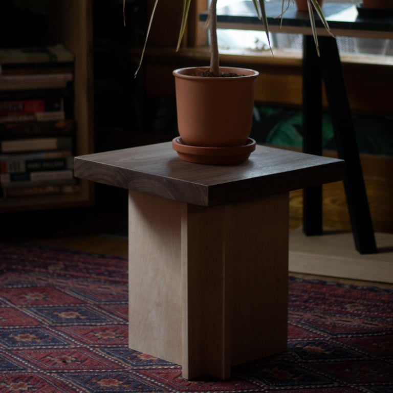 Amy Walnut and Maple Side Table / Stool In New Condition For Sale In Toronto, Ontario