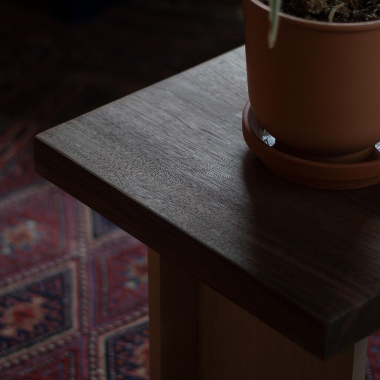 Contemporary Amy Walnut and Maple Side Table / Stool For Sale