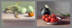 """Pair of Still Lifes: """"Kohlrabi and Persimmon"""" and """"Tomatoes, Celery, and Vessel"""""""