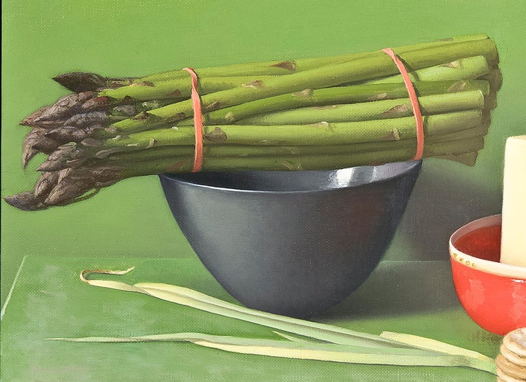 Still Life with Asparagus, Pecorino and Crackers - Painting by Amy Weiskopf