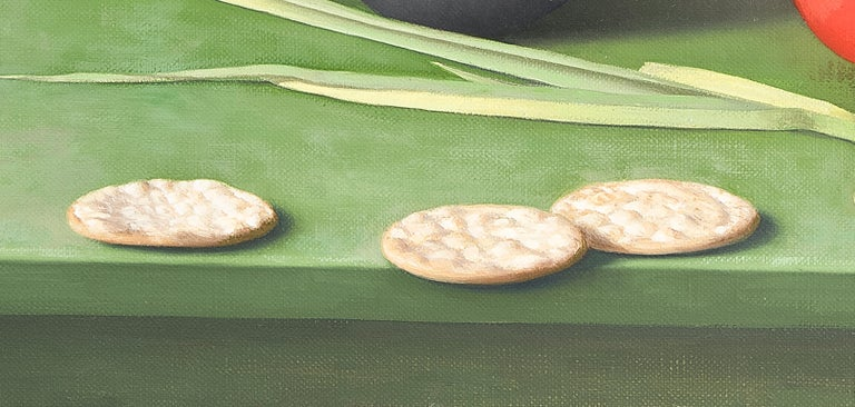 Still Life with Asparagus, Pecorino and Crackers - Contemporary Painting by Amy Weiskopf