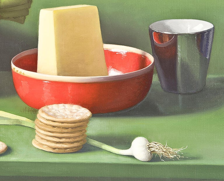 Still Life with Asparagus, Pecorino and Crackers - Brown Still-Life Painting by Amy Weiskopf