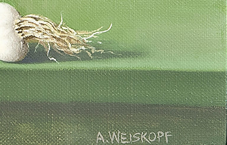 Though Weiskopf is a master of the still life genre, her paintings are anything but traditional.  Absent are the conventional subjects of centuries past.  Instead of peonies, delftware and crystal, Weiskopf paints crooked cucumbers, peeling onions