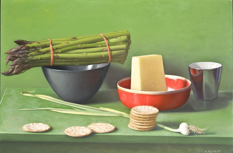Amy Weiskopf Still-Life Painting - Still Life with Asparagus, Pecorino and Crackers