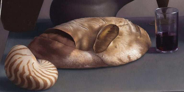Still Life with Bread, Shell and Eggs - Gray Still-Life Painting by Amy Weiskopf