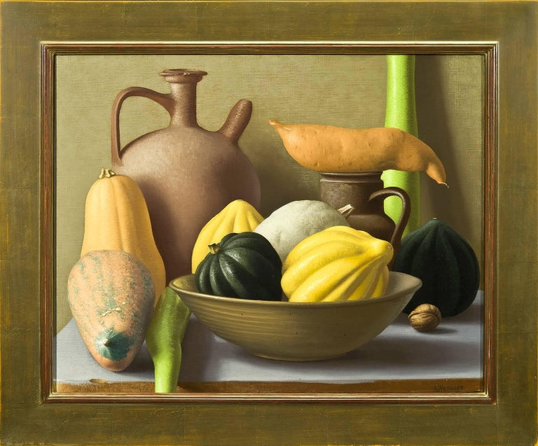 Though Weiskopf is a master of the still life genre, her paintings are anything but traditional. Absent are the conventional subjects of centuries past. Instead of peonies, delftware and crystal, Weiskopf paints crooked cucumbers, peeling onions and