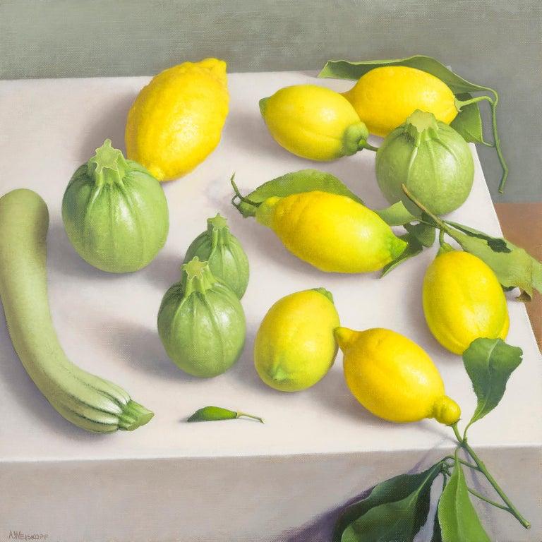 Amy Weiskopf Still-Life Painting - Zucchini and Lemons