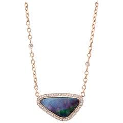 Amy Y 14.00ct Boulder Opal, Diamond and 18K-Rose Gold Pendant Necklace 'Aspen'